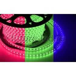 LED лента 220В, 13*8 мм, IP67, SMD 5050, 60 LED/m RGB